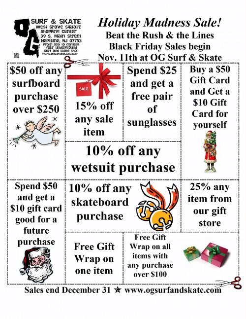 OG SURF AND SKATE Holiday Madness Sale